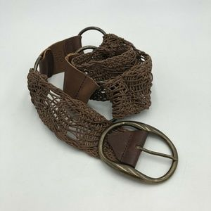 Cabi Leather Belt Brown Woven Boho S